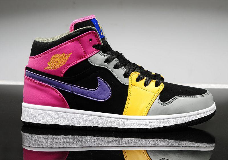 dc6368c4b732 ... Nike Air Jordan 1 Womens Purple Pink Black Grey Yellow - Thumbnail 2