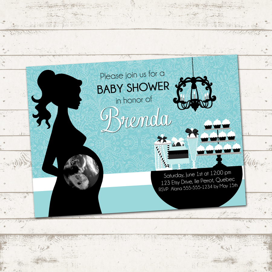 Baby Shower Invitation- Elegant Silhouette - Turquoise, Paisley ...