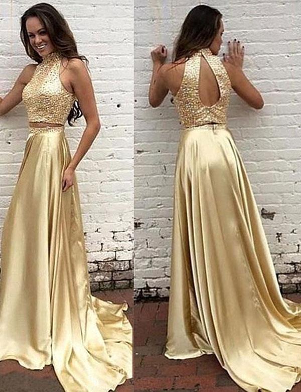 Modern Prom Dresshigh Neck Prom Dressesbeading Prom Dresstwo