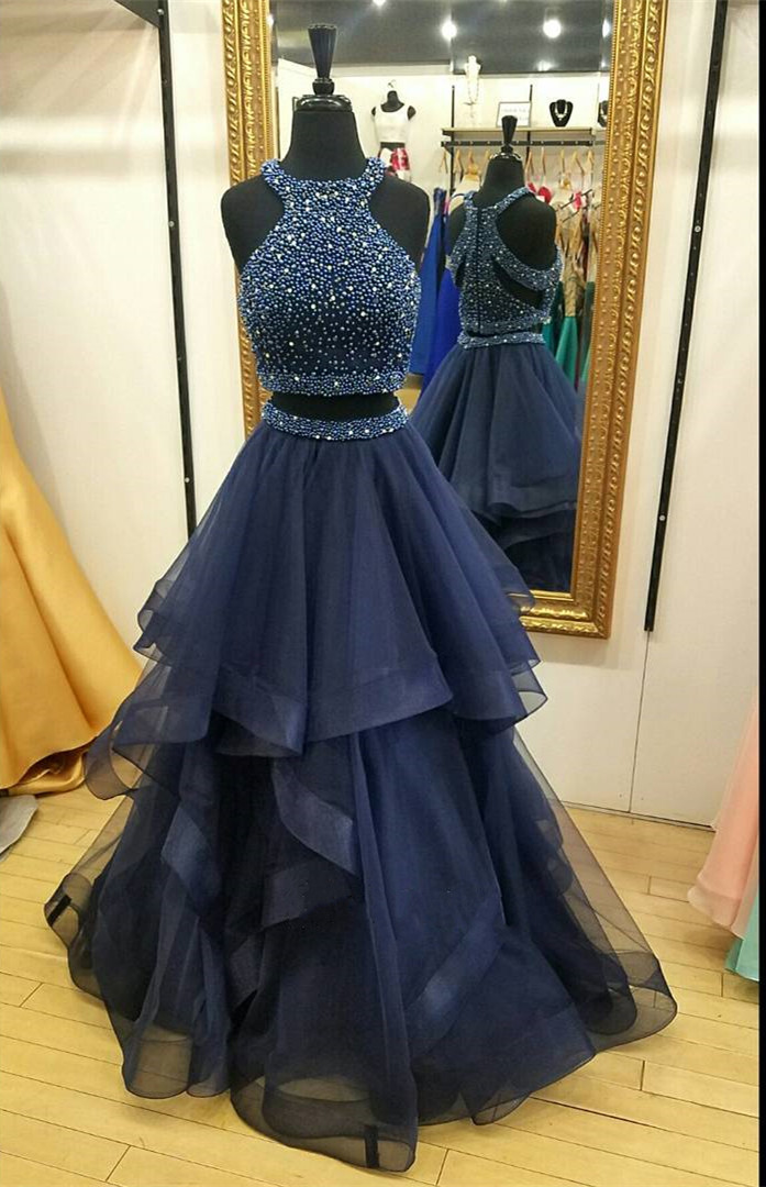 Charming Navy Blue Prom Dress,Two Piece Prom Dresses,Ball Gown Prom ...