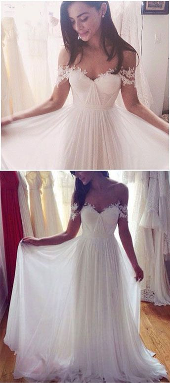 dd832e6d19a ... Simple Elegant Off shoulder Beach Wedding Dresses 2017 Floor Length  With Appliques