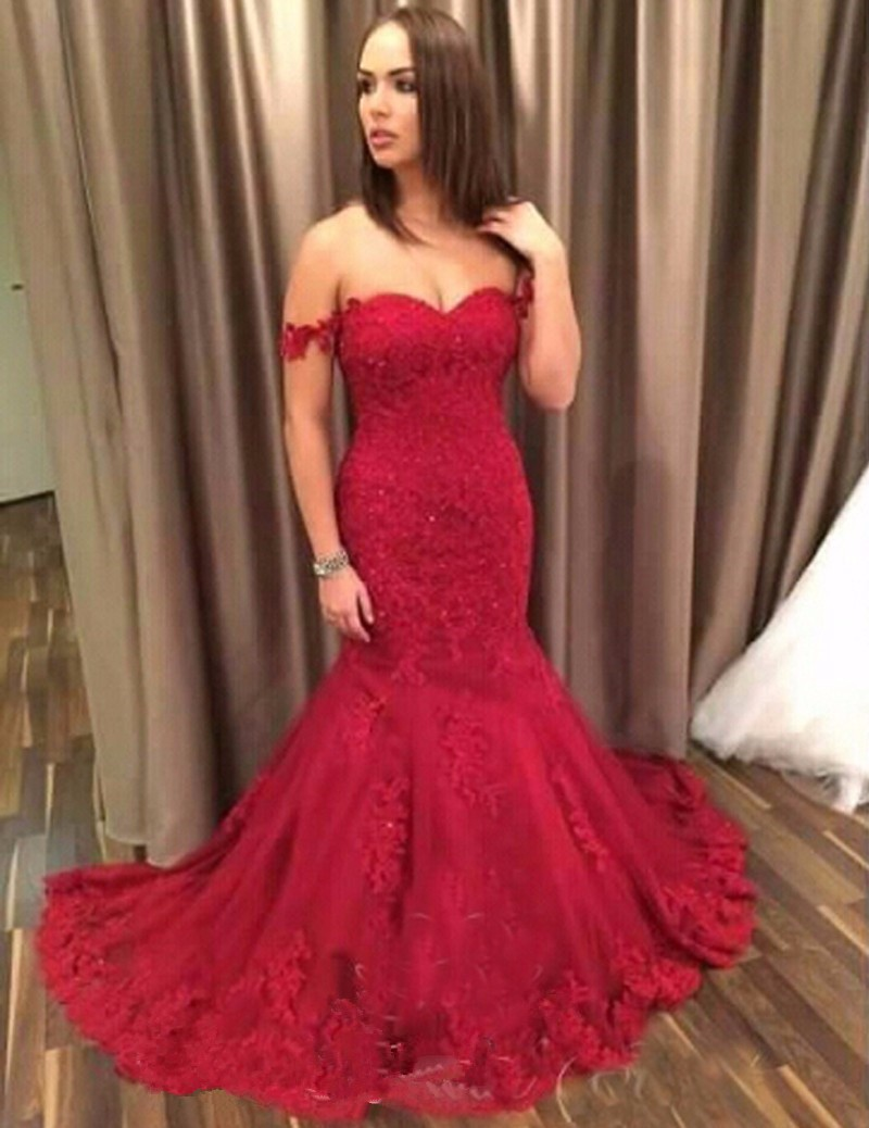Charming Prom Dresses,Long Prom Dress,Burgundy Tulle Appliques Prom ...