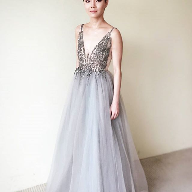 555948156ac2 A-Line V-Neck Floor-Length Sleeveless Grey Tulle Prom Dress with Beading on  Storenvy