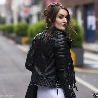 7d83cbfee32 Women's Genuine Lambskin Leather Motorcycle Slim fit Designer Biker ...