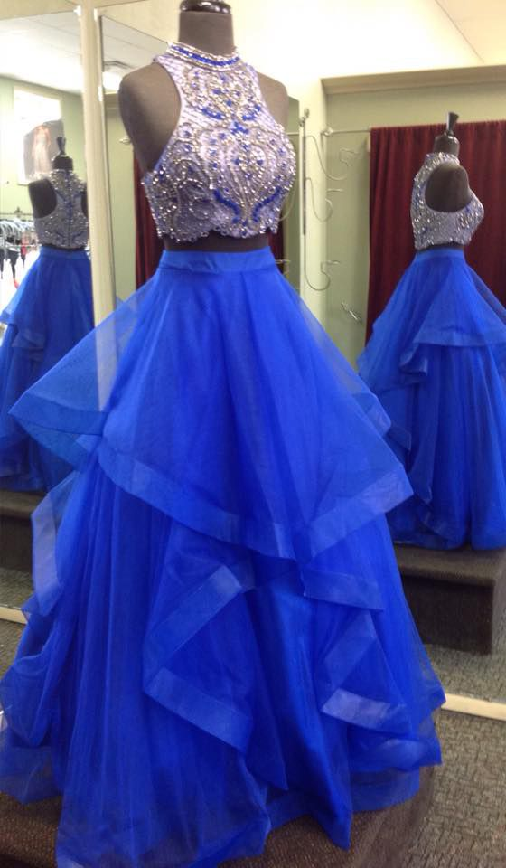 701052d2 Royal Blue Two Piece Prom Dresses,Beaded Bodice Tulle Skirt Sweet 16 Dresses ,Ball