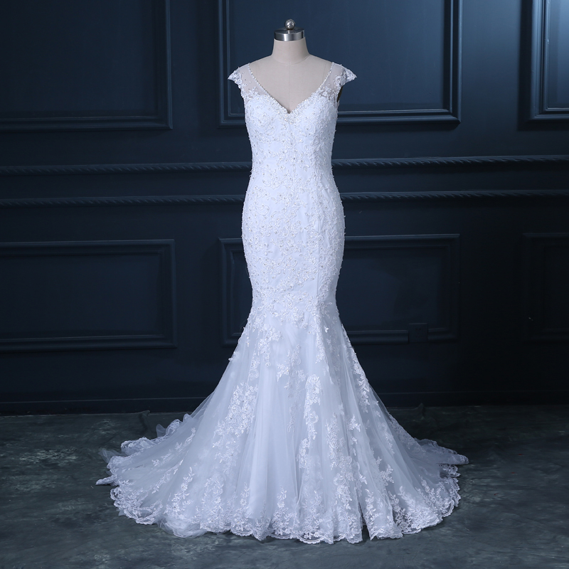 Cap Sleeves See Through Wedding Dress With Buttons Bridal Dress Custom Size  Color