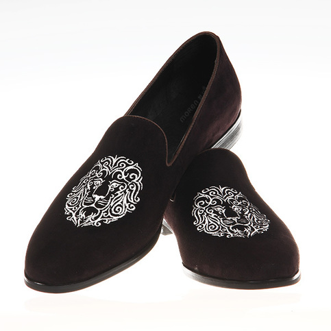 New Handmade Men S Velvet Shoes Men Brown Embroidered
