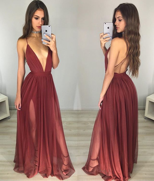 Sexy V Neck Backless Long Prom Dressessimple Evening Dress Sexy