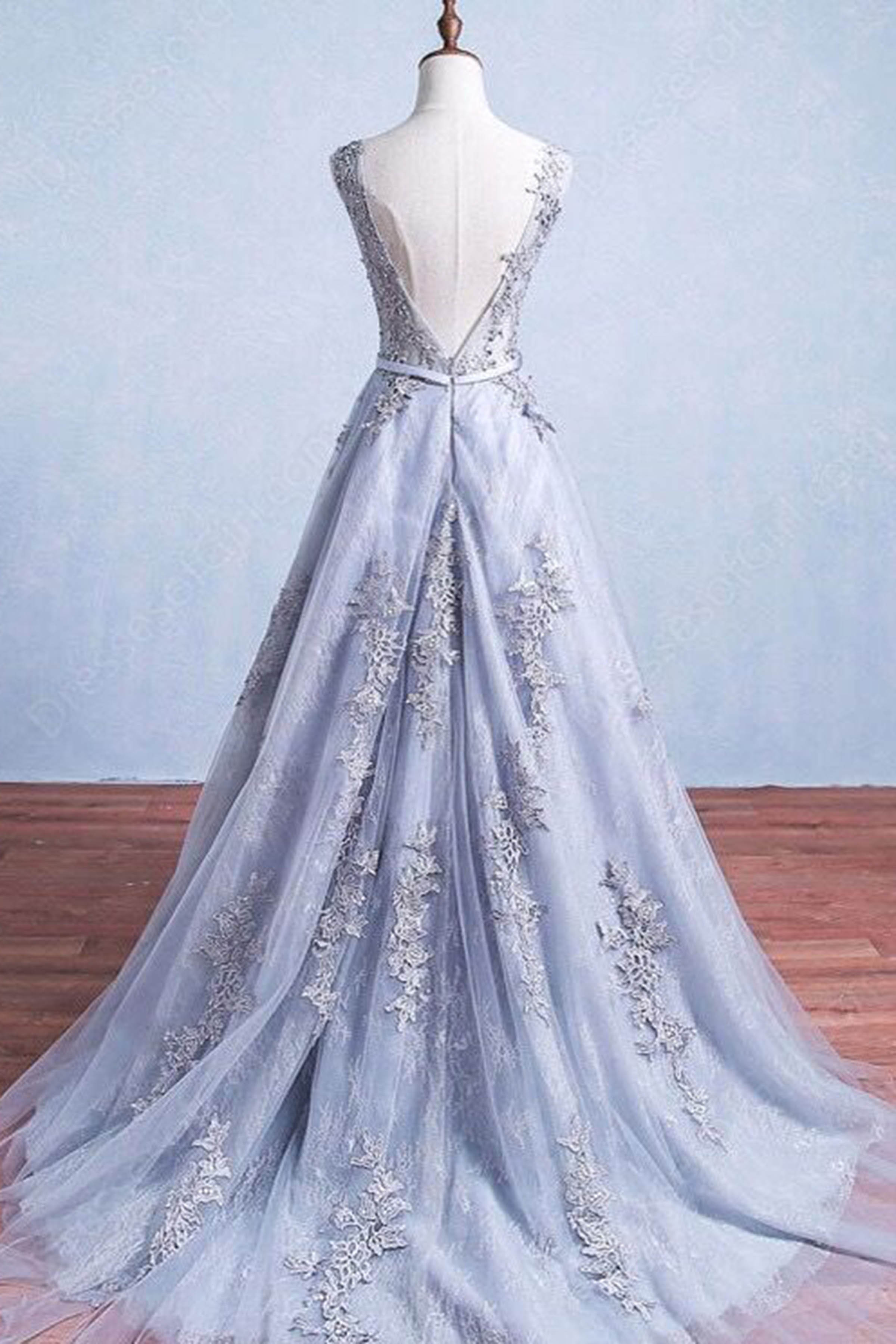 Blue Lace Backless Prom Dresses
