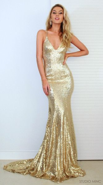 Am184 New Gold Sequins Evening Gowns Hot Sexy Backless Prom Dresses