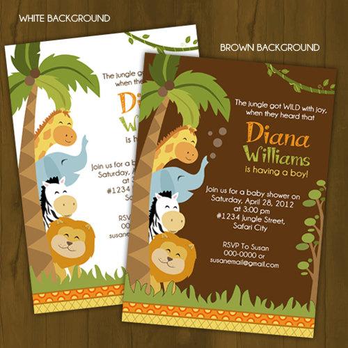 safari baby shower printed invitations jungle invites wild zoo new