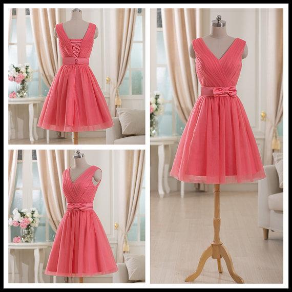 6741a198702 Coral Short Chiffon Prom Dress