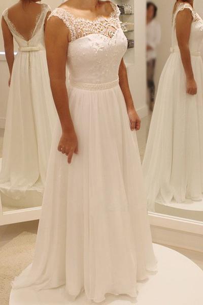 Simple Wedding Dress, A Line Wedding Dresses, Chiffon ...
