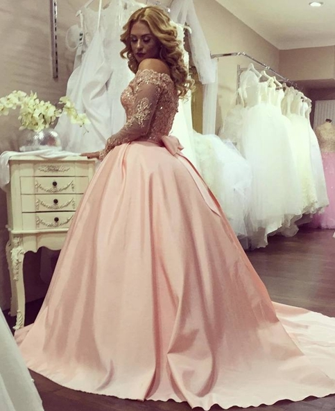 Light Pink Lace Long Sleeve Prom Dresspink Evening Dresses From Formal Dress
