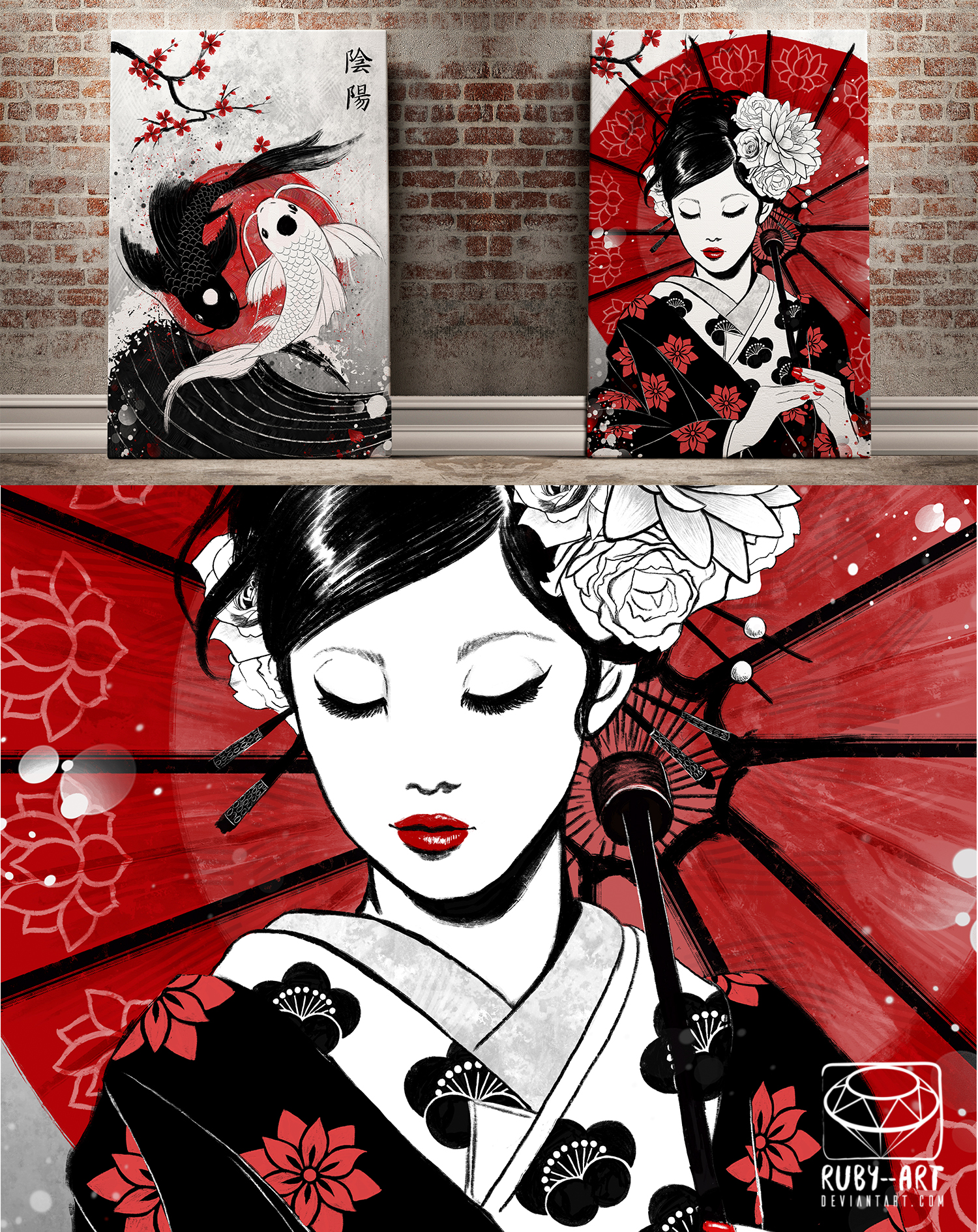 geisha canvas 24x36 ruby art store online store powered by storenvy