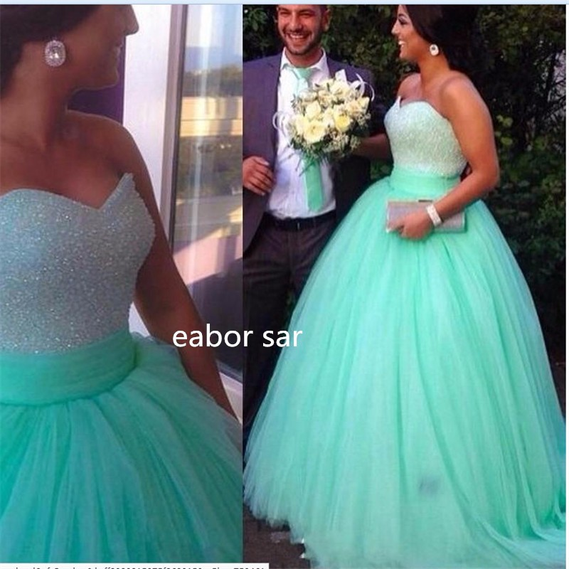 Mint Green Ball Gown Prom Dress Sequins Beaded Sweetheart Bodice ...