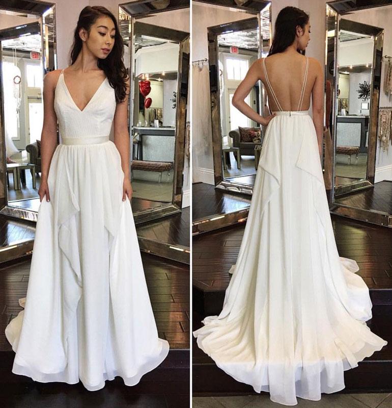9b246dda6f SIMPLE V NECK WHITE CHIFFON LONG PROM DRESS