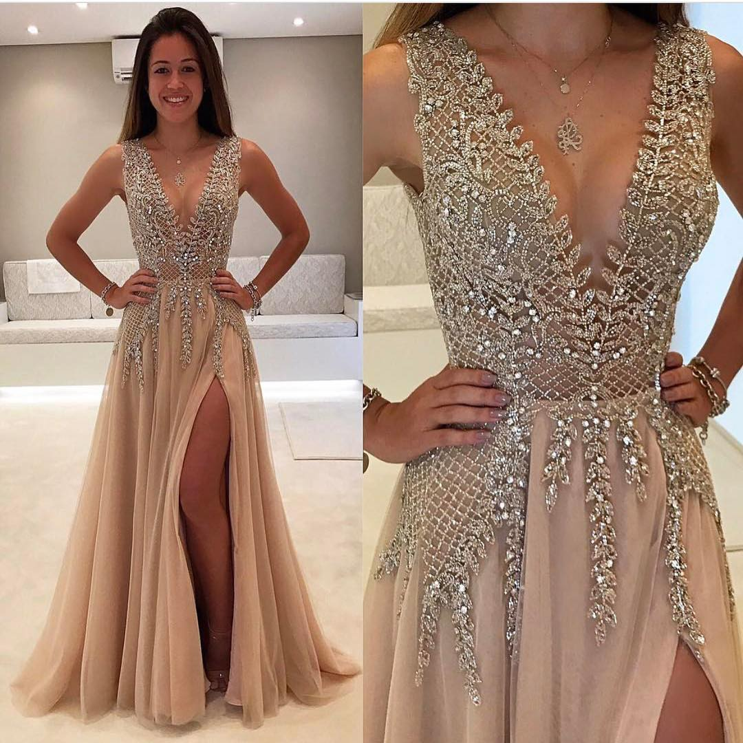Beautiful Prom Dress New Style Prom Dresses Champagne Evening Gown ...