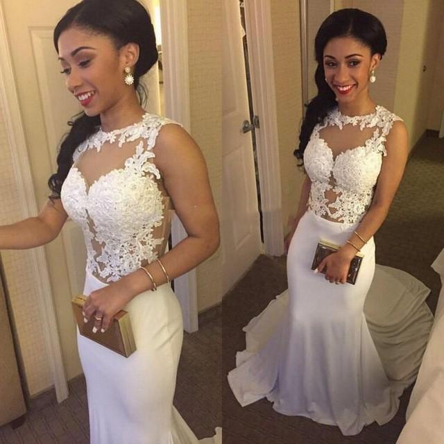 0e681865e0e White Long Black Girl Prom Dress Mermaid Party Dresses Women Evening Gowns  on Storenvy