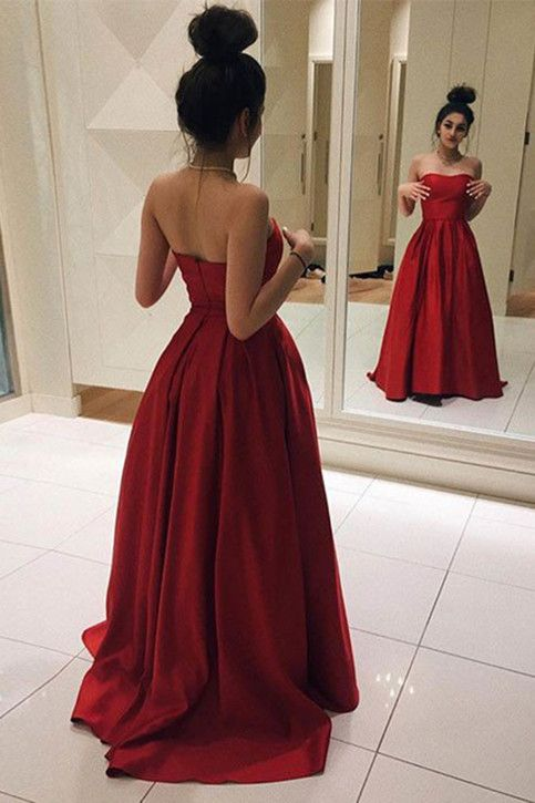 Elegant Red Satin Prom Dress, Ball Gown