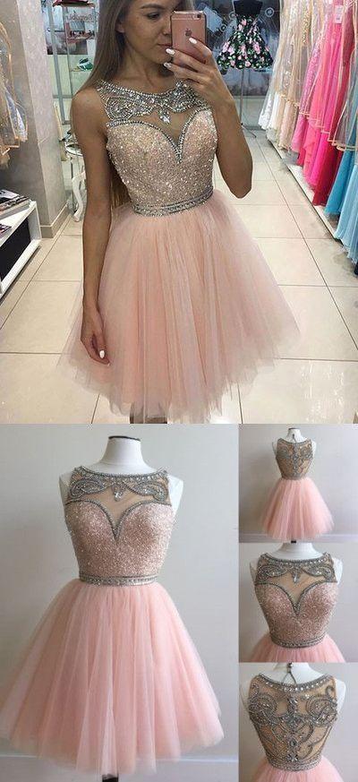 U0019, short prom dress, homecoming dress, pink prom dress, cute ...