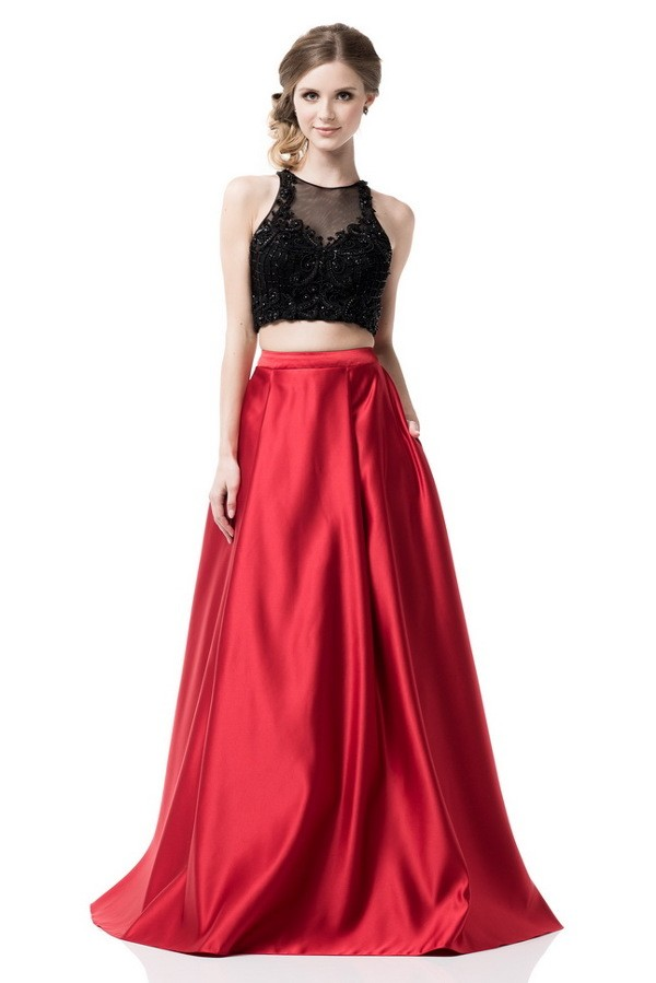 15b1d41000 Two Piece Long Red Skirt with Black Sequin Top · Lucy Fox · Online ...