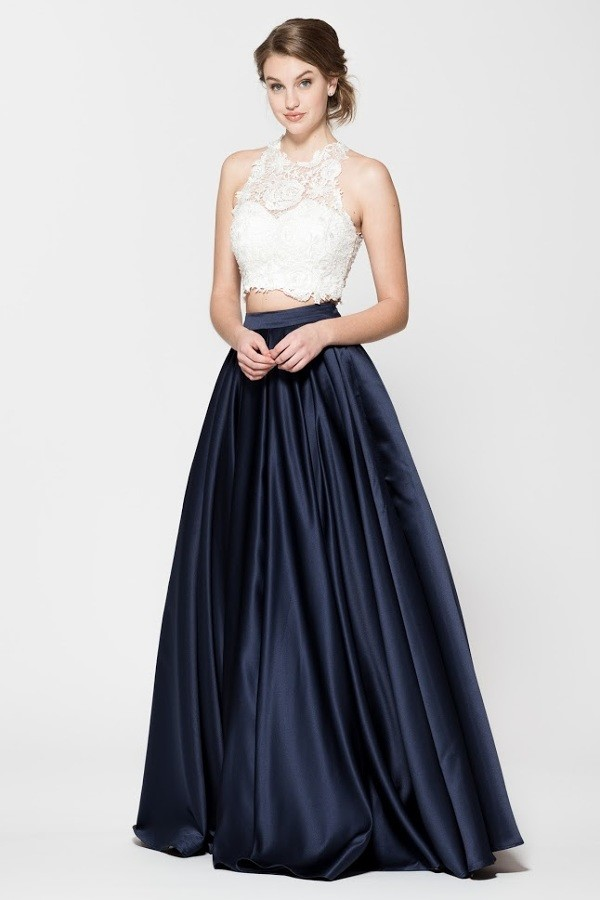 87c39263139 Two Piece Long Sapphire Skirt with Ivory Sequin Top · Lucy Fox ...