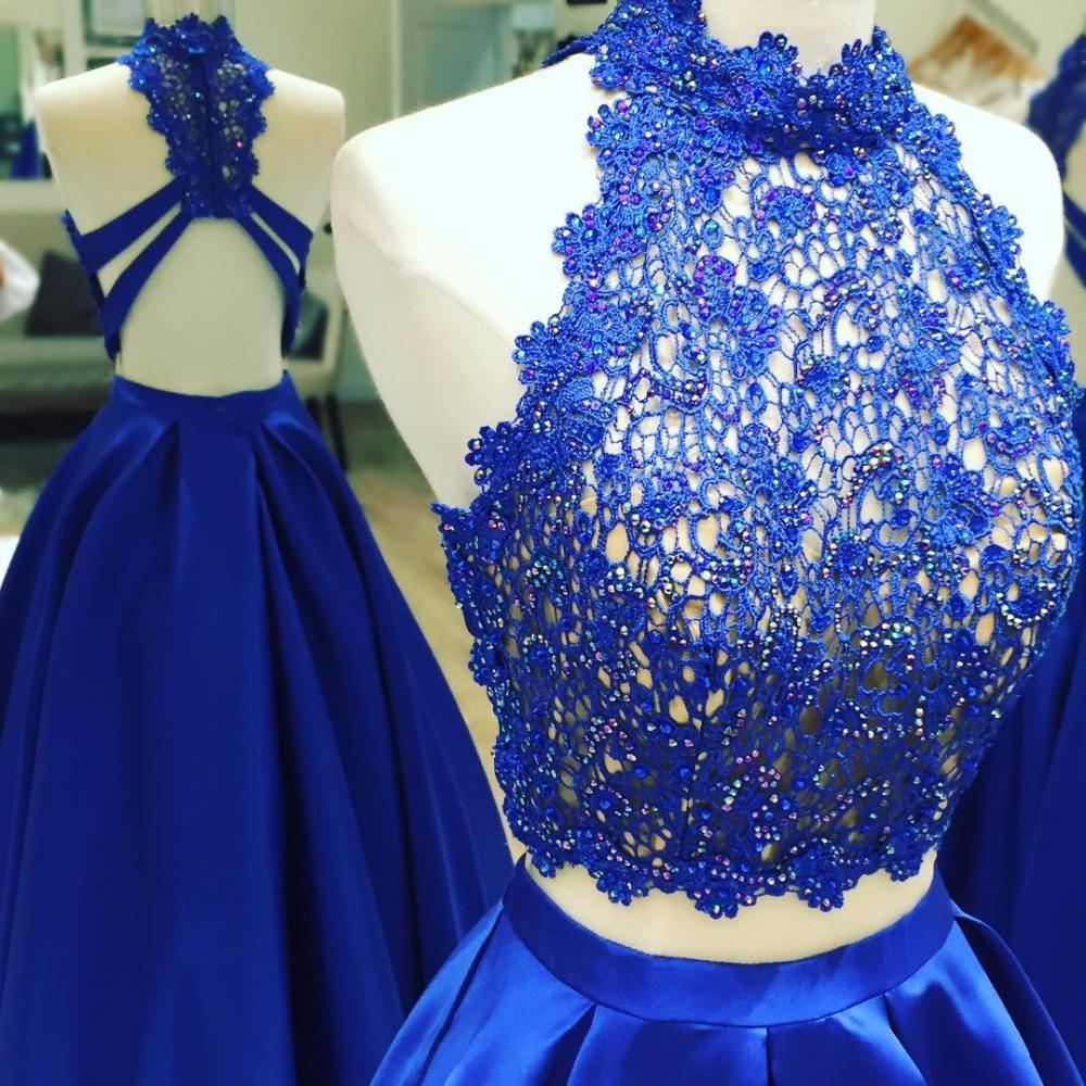 df4b2e1915f Fashion Two Piece Royal Blue Prom Dress