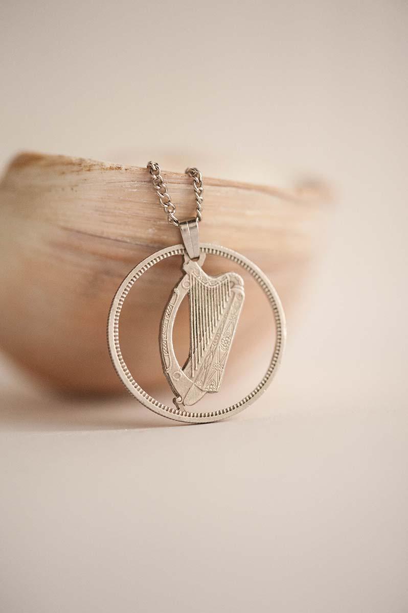 Ireland Cut Coin Necklace in Silver Colour 1 Scilling, Irish Coin   Handmade, Gaelic Harp, Cláirseach