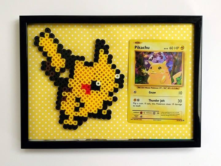 Pokemon Card Perler Frame - Pikachu - Wall Decor - Office - Nerdy Art -  Perler Beads - Geeky Present from Wonderland Crafts