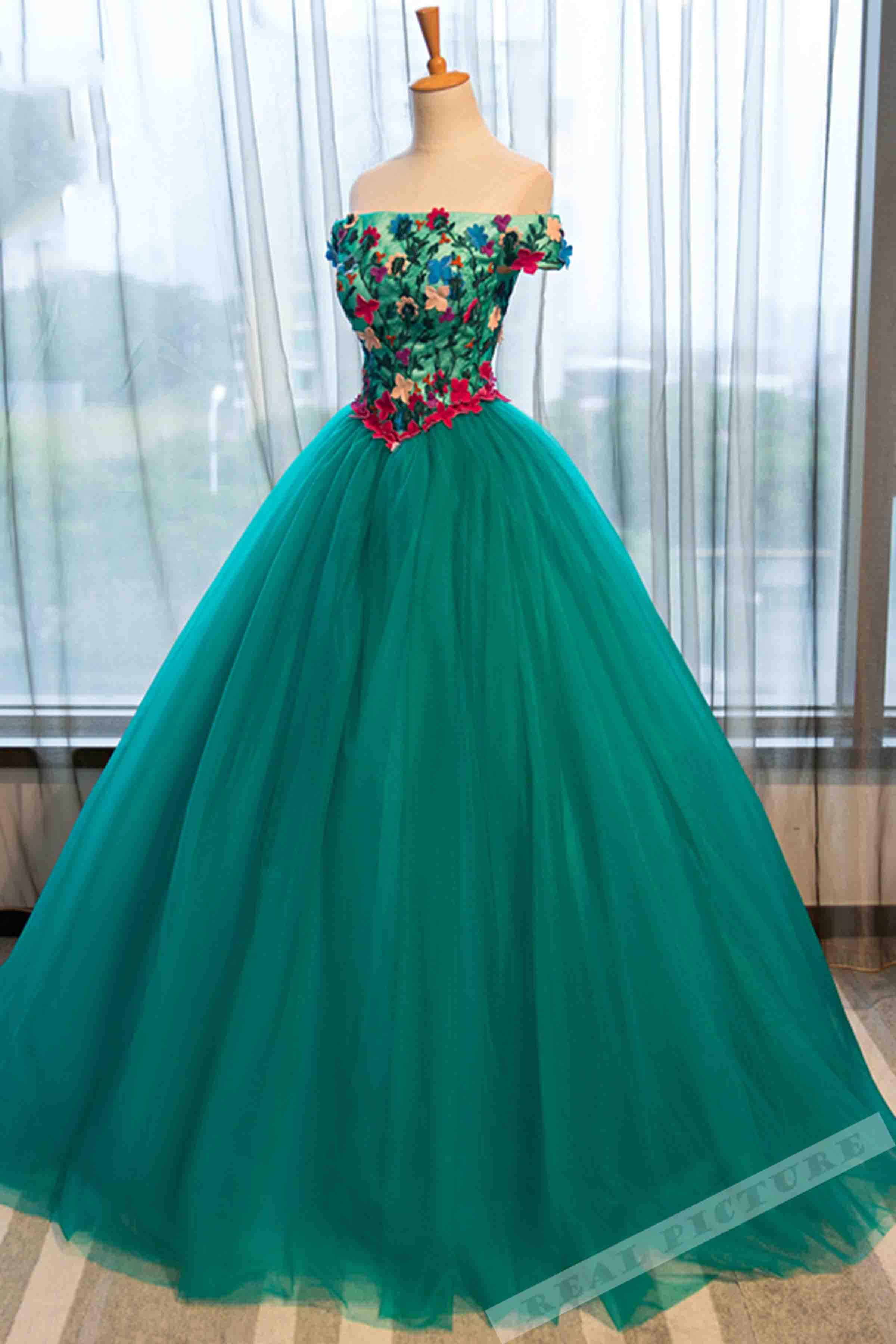 Green tulle applique off-shoulder A-line prom dress,ball gown dress ...
