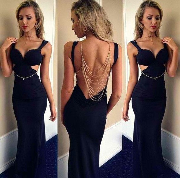 81351545de9 Sexy Backless Prom Dress Long