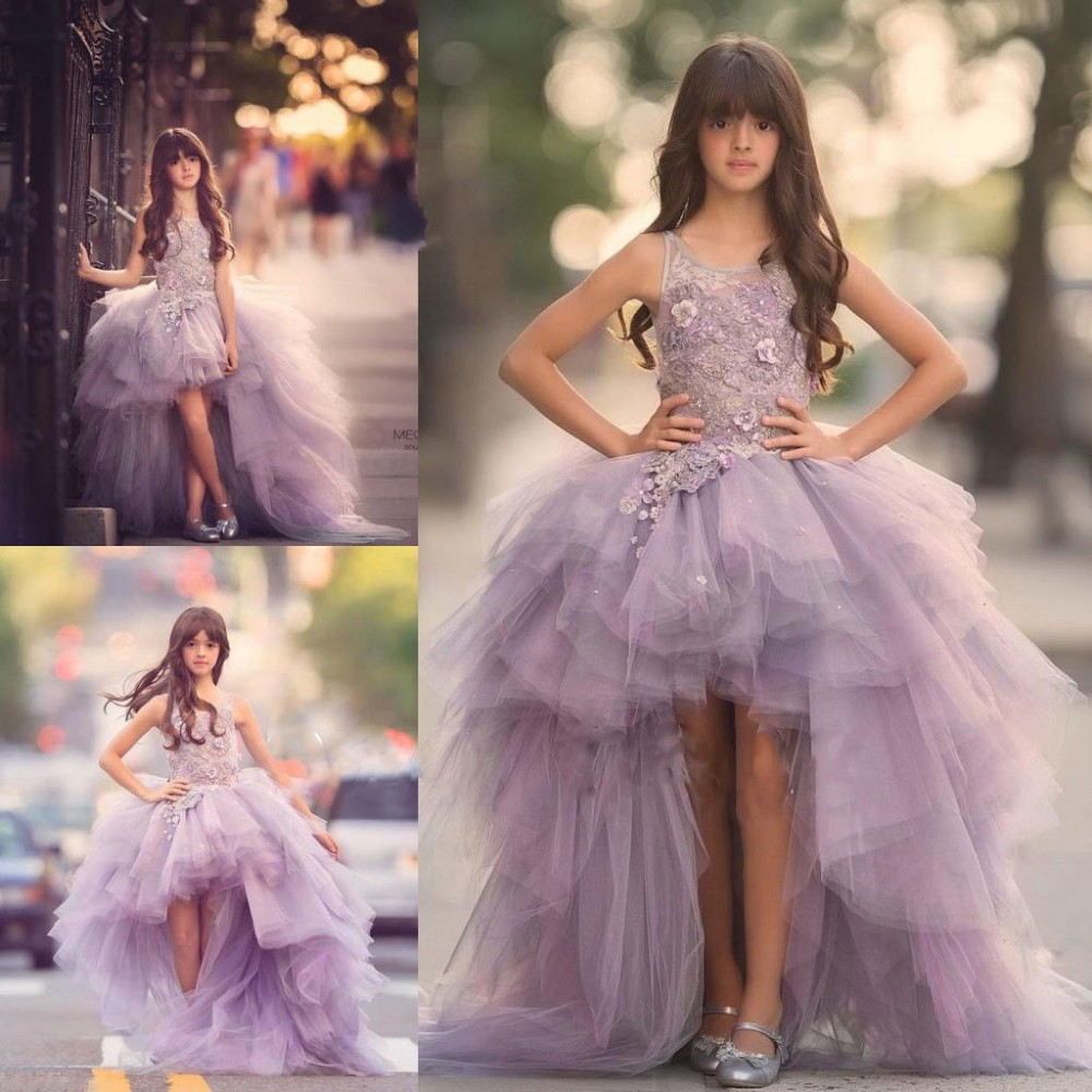 Princess Lavender High Low Flower Girl Dresses Tulle Puffy Girl Pageant  Dresses Kids Evening Gowns Prom 9771502b5e59