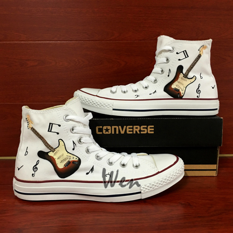 c9bfd782d245 Guitar Musical Note Original Design White Converse All Star Shoes ...