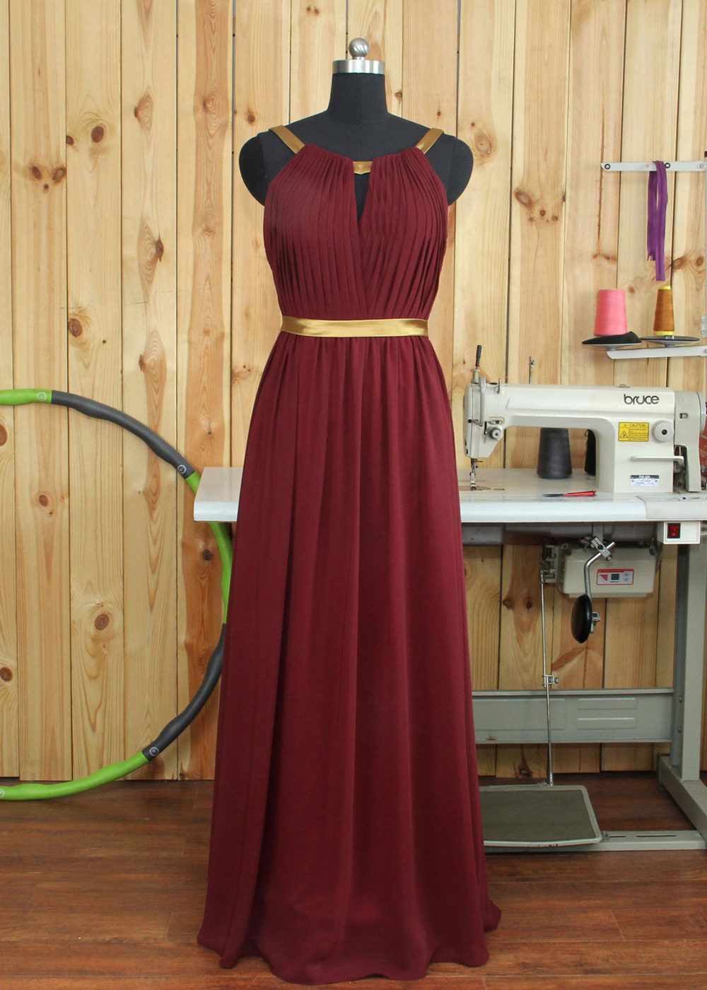 2ae0e3270c1 V-neck V-back Straps Floor Length Chiffon Bridesmaid Dress on Storenvy