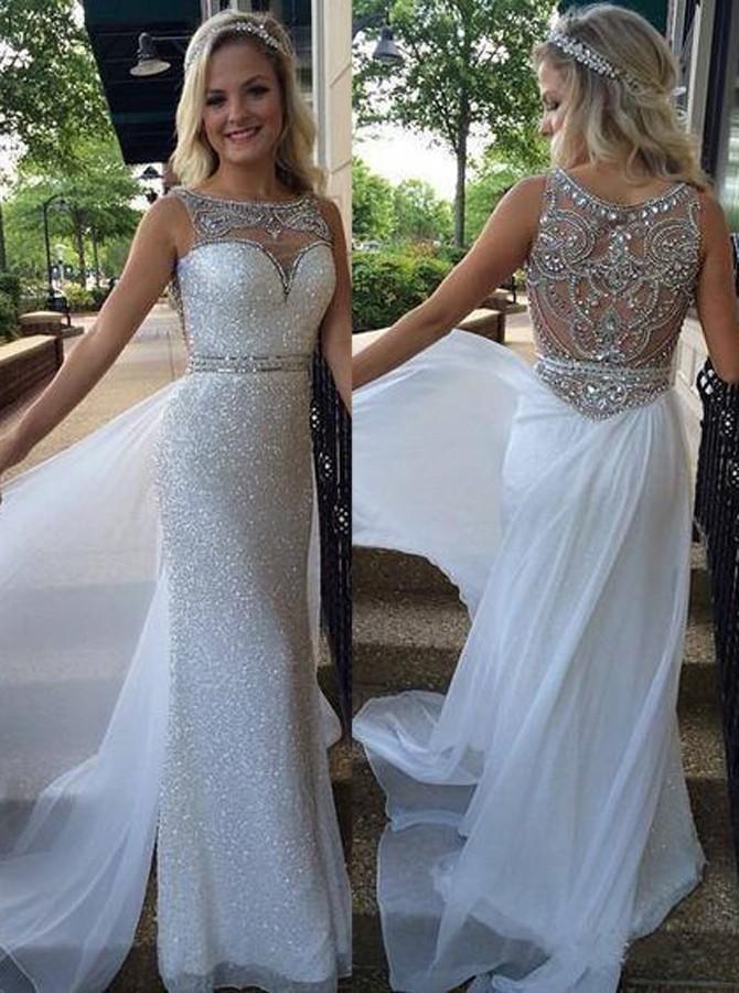 4b8317b2d6e Shiny Beaded Chiffon Prom Dresses