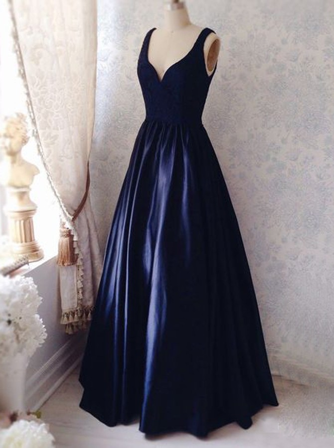 51c79bc95235 Deep V Neckline Navy Blue Prom Dresses