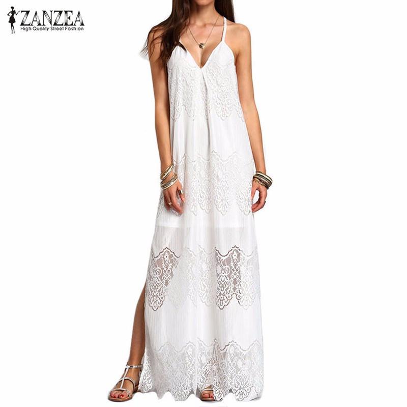 Long Maxi Dresses Women Boho Summer Beach Wear Cream Split Sleeveless  Dresses Plus Size