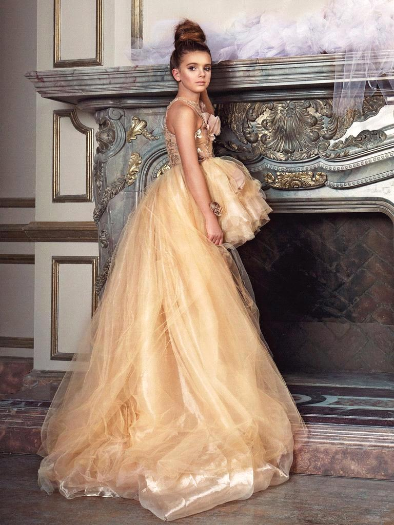 New Champagne High Low Flower Girl Dresses Organza Puffy Girl ...