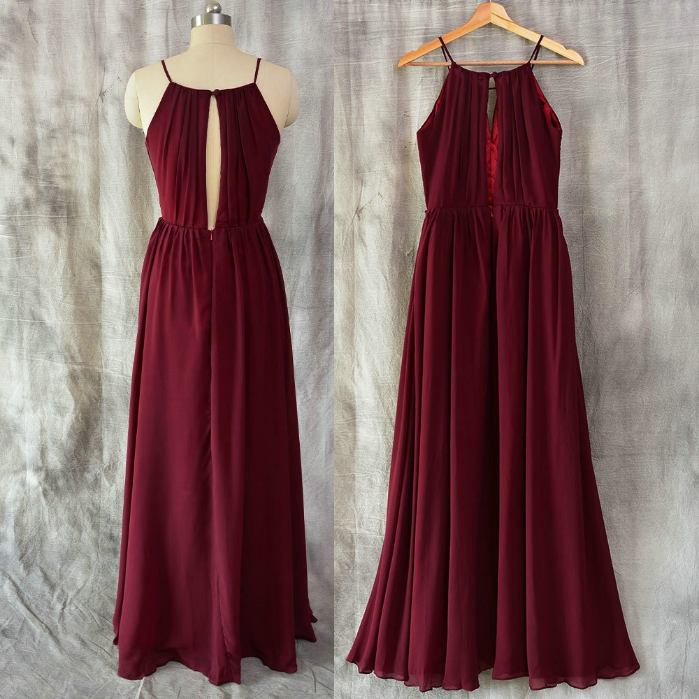 A Line Burgundy Chiffon Bridesmaid Dress,Vintage Burgundy