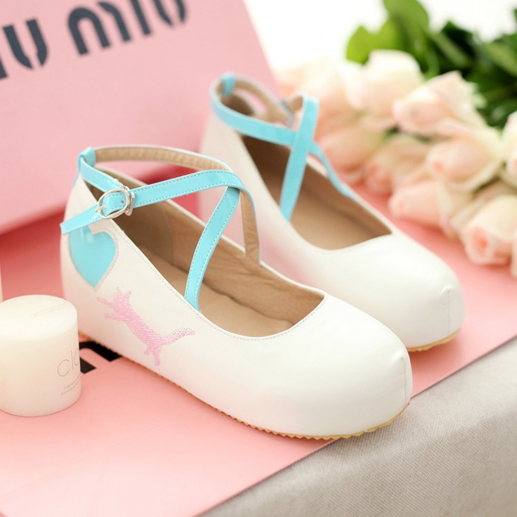 503e10b5e9a5 ... Japanese Kawaii Cat Heart Wedges Lolita Girly Platform Shoes DC350 -  Thumbnail 4