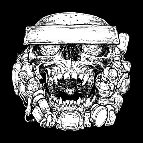 Skull eye mouth sticker