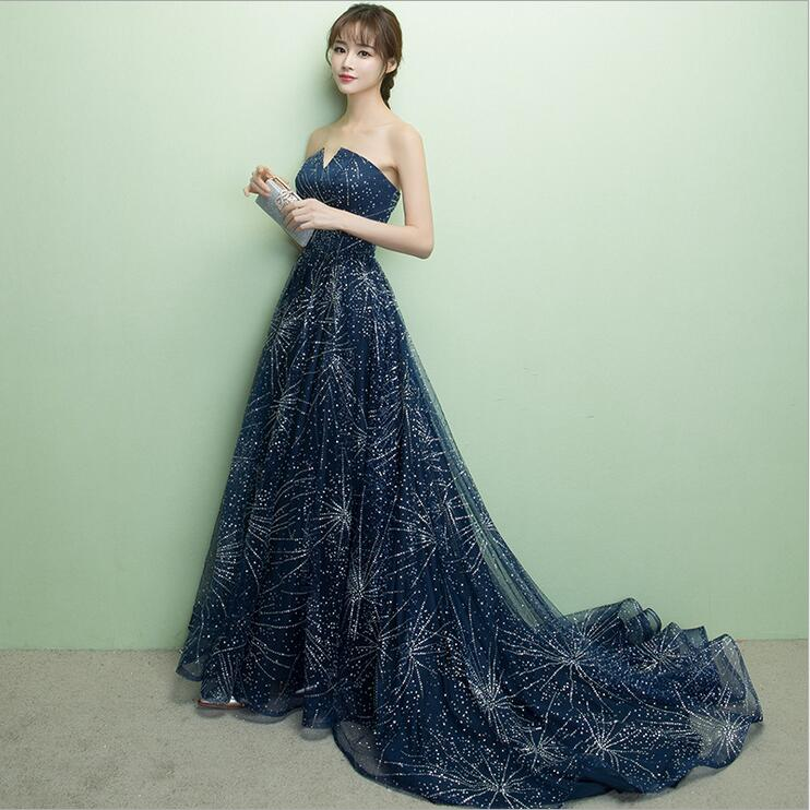 eb2bebbd4931 ZX10 Long sparking sequin tulle navy blue prom dress,long navy blue evening  dress cheap