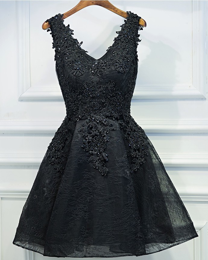Sexy Black Short Prom Dress Black Lace Prom Dress Little Black Dress Black Homecoming Dress Black Party Dress Short Evening Dress