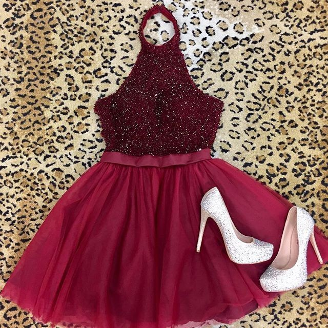 4eba3174621 Sexy A-Line Halter Backless Burgundy Tulle Homecoming Dress with ...