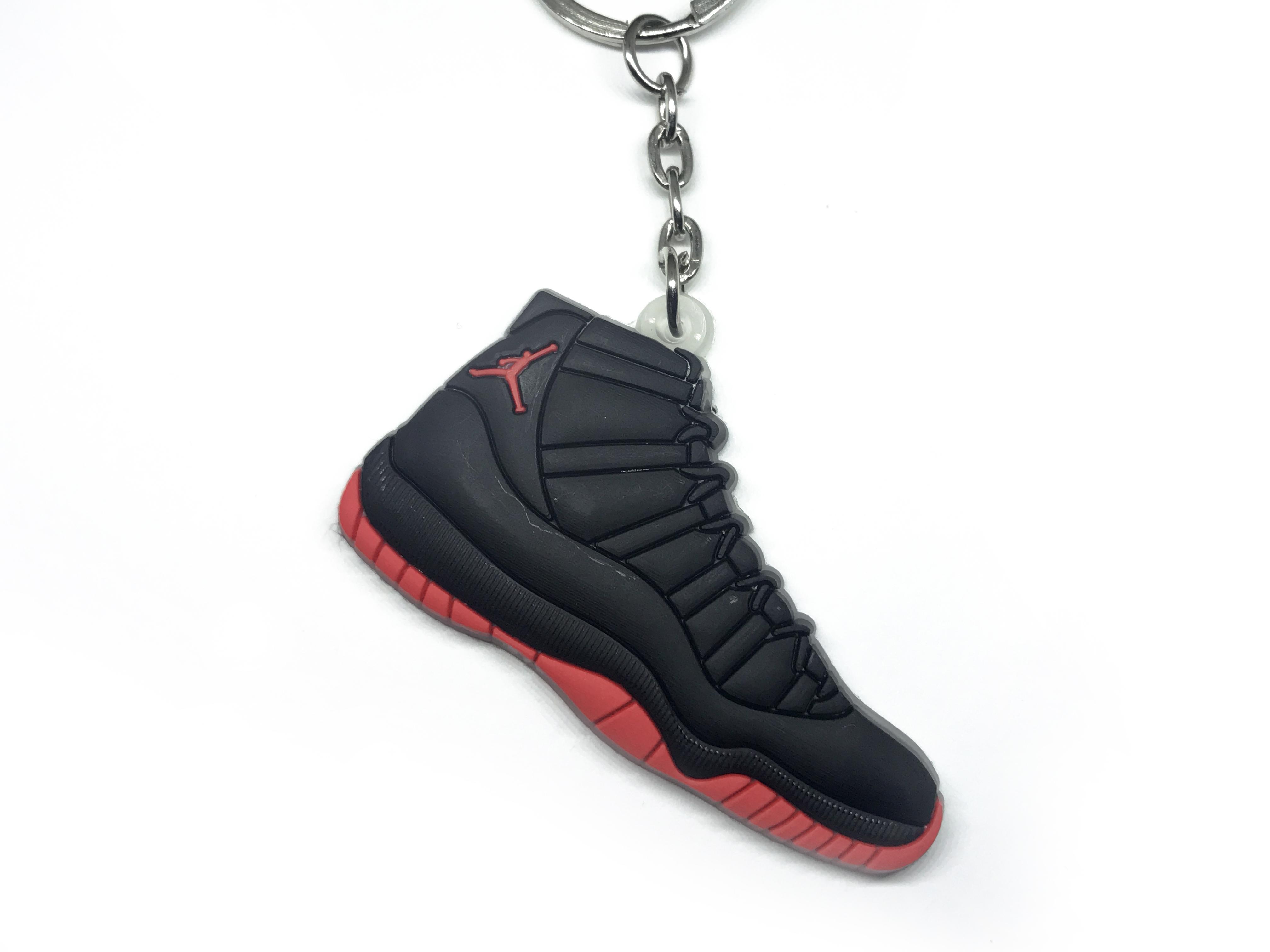 Air Jordan Black and Red Shoe Keychain