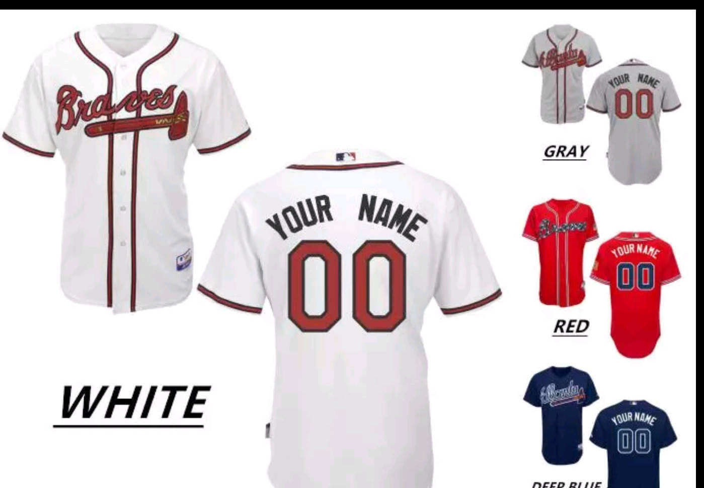 sale retailer 1e166 2a024 Atlanta Braves Personalized Mens/Women/Youth Jersey S-XXXL Available Plain  or Customized Any Color/Name/Number, Including Yours sold by Treasure Bin