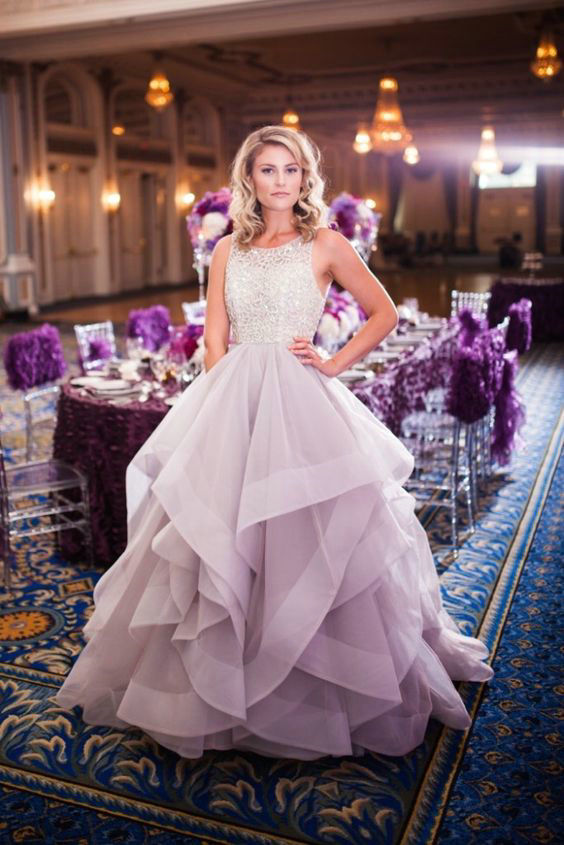 152529f3937 Fashion Lilac Organza Tiered Wedding Dress · Sancta Sophia · Online ...