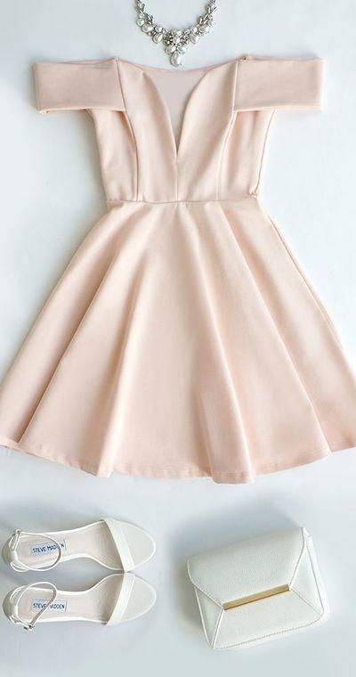 93e7e18bba5 Cute Off-the-Shoulder Homecoming Dress, Light Pink Prom Dress,V-Neck ...