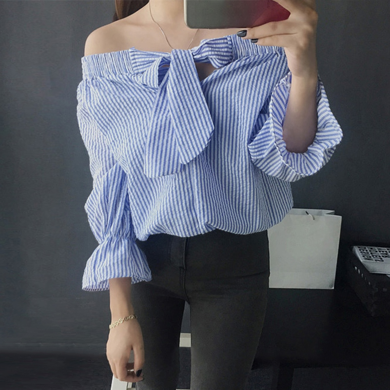 3f1faebc44671e Bow vertical striped crop women blouse feminine vogue off shoulder tops  long sleeve slash neck original